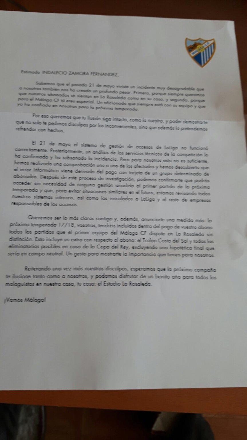 """El Málaga """"pide perdón"""" a sus abonados por la incidencia en el acceso frente al RealMadrid"""