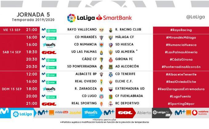 El Mirandés-Málaga de la quinta jornada ya tiene fecha yhorario
