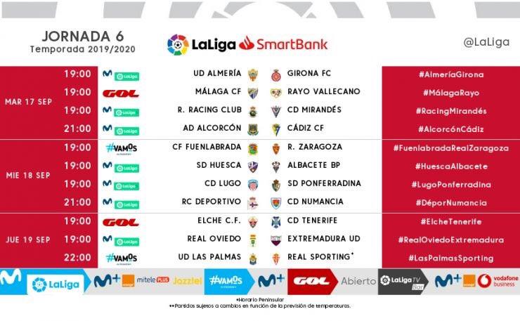 El Málaga-Rayo Vallecano de la sexta jornada, un martes y a mediatarde